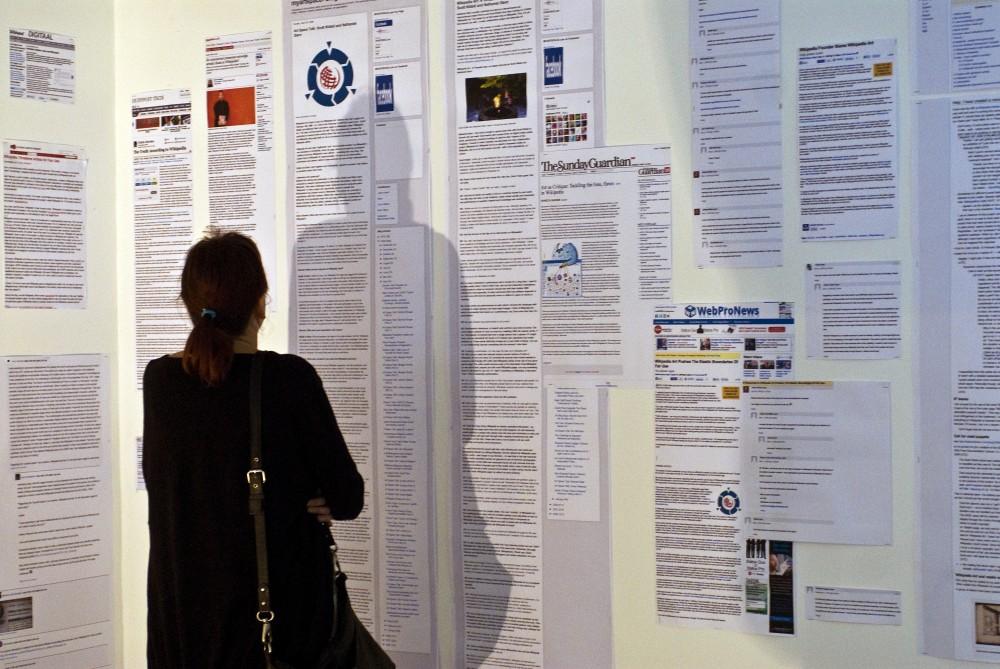 Wikipedia Art installation detail, Furtherfield Gallery, London