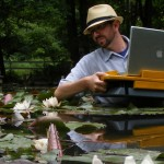 Nathaniel Stern scanning water lilies in South Bend, Indiana