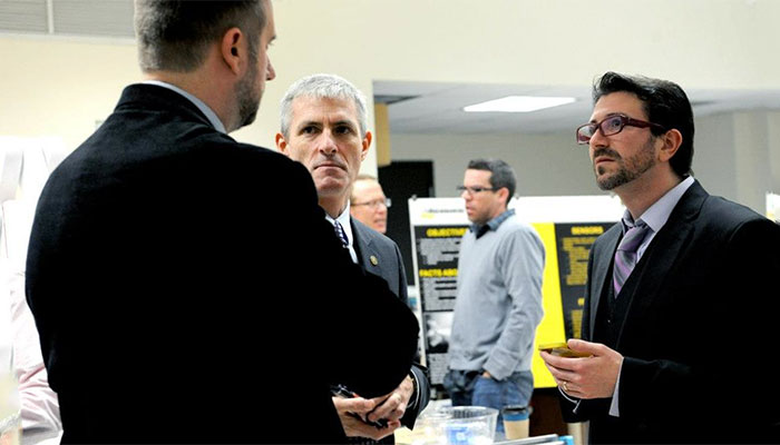 Startup Challenge Launch. From left to right: Dr Ilya Avdeev (Mechanical Engineering), Chancellor Mike Lovell (UWM), President Brian Thompson (UWM Research Foundation), Prof Frankie Flood (Art and Design), and Dr Nathaniel Stern (Art and Design)
