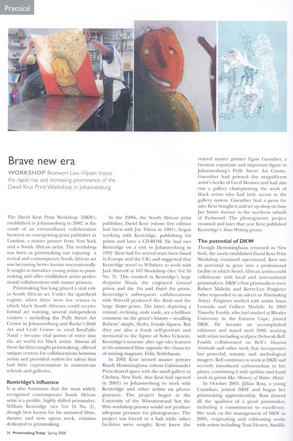 Nathaniel Stern / David Krut in Printmaking Today magazine